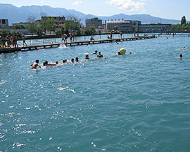 Schwäbis river bathing place Thun