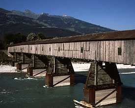 Wooden bridge and Rhein at Sevelen