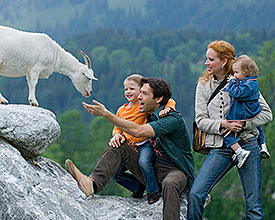 Petting zoo and playground at Foundation Alpenruhe in Saanen, Switzerland